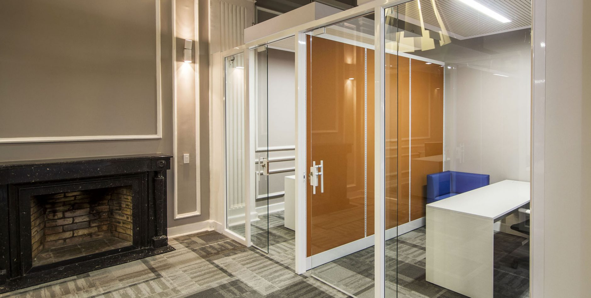 Glass and aluminum office walls